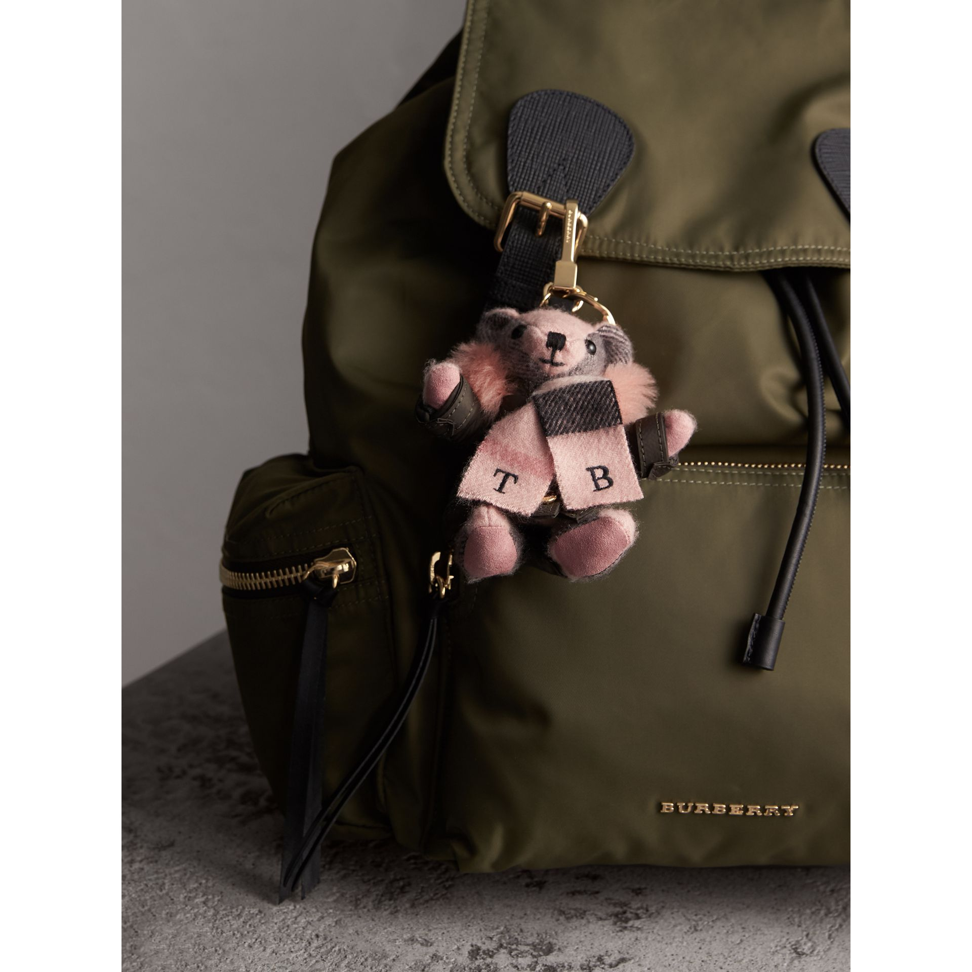 Thomas Bear Charm in Puffer Coat and Scarf in Ash Rose - Women | Burberry - gallery image 3