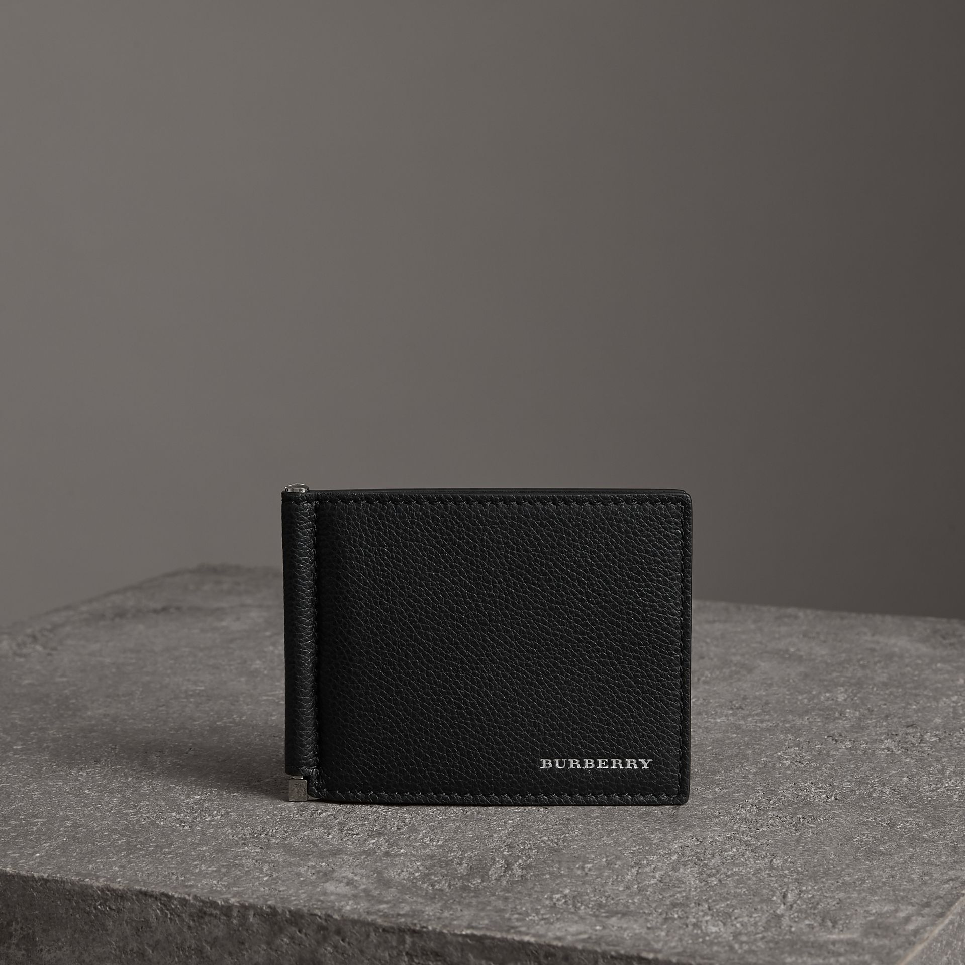 Grainy Leather Money Clip Card Wallet in Black - Men | Burberry Australia - gallery image 0