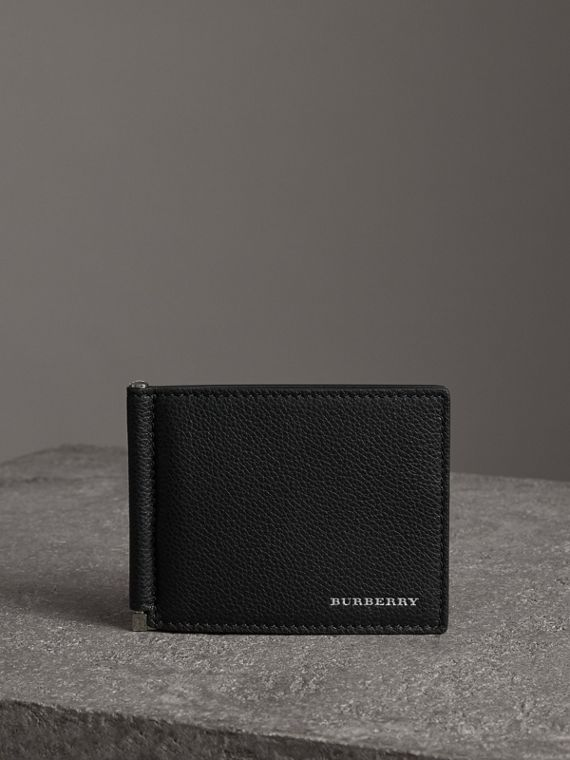 Grainy Leather Money Clip Card Wallet in Black