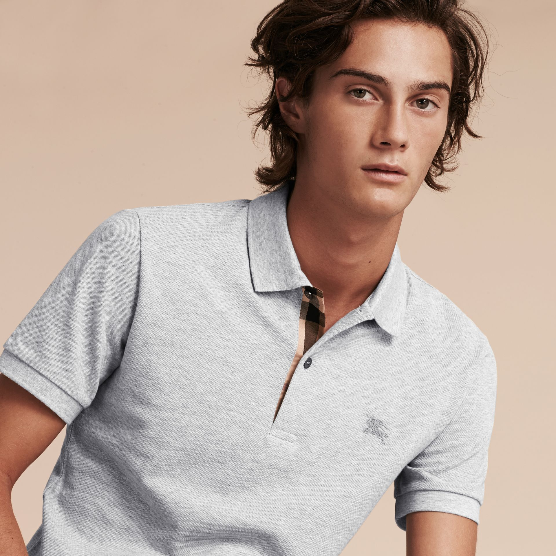 Check Placket Cotton Piqué Polo Shirt in Pale Grey Melange - Men | Burberry - gallery image 6