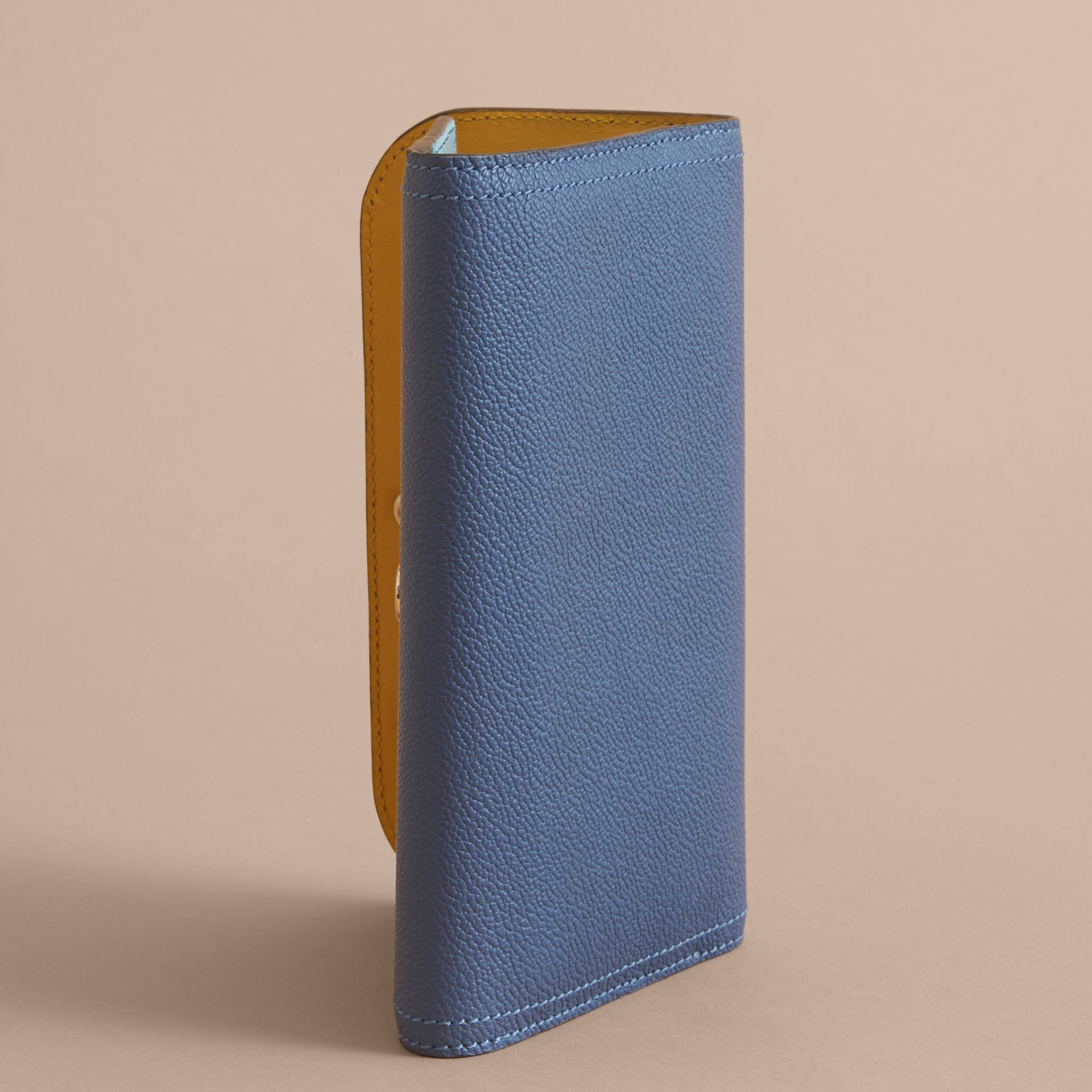 Two-tone Leather Continental Wallet and Coin Case Steel Blue/multi - gallery image 4