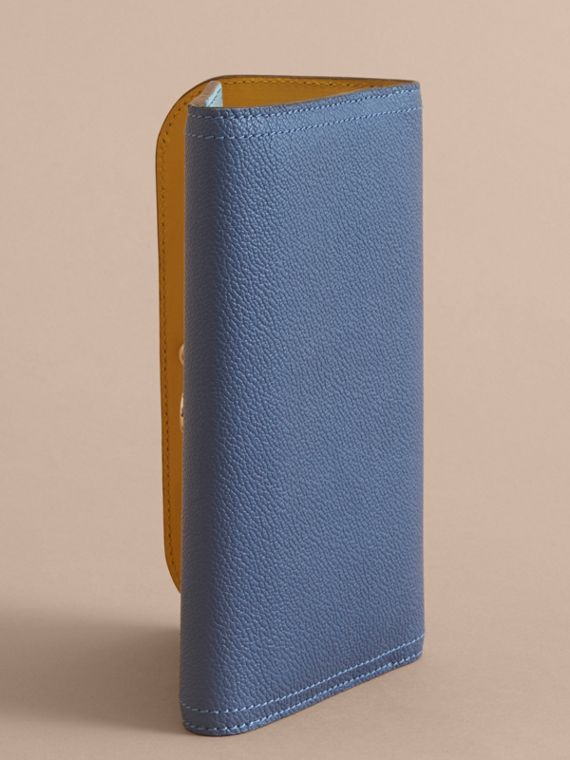 Two-tone Leather Continental Wallet and Coin Case Steel Blue/multi - cell image 3