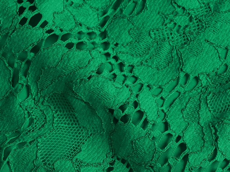 Macramé Lace Short Shift Dress with Ruffle Sleeves Kelly Green - cell image 1