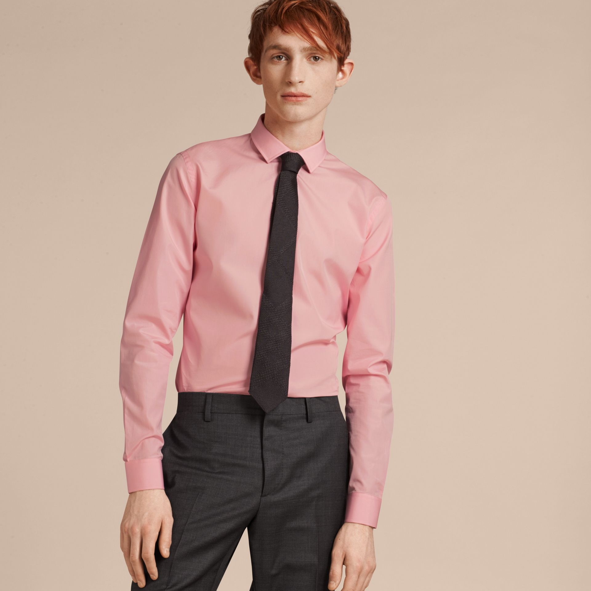 Slim Fit Cotton Poplin Shirt in City Pink - Men | Burberry - gallery image 1