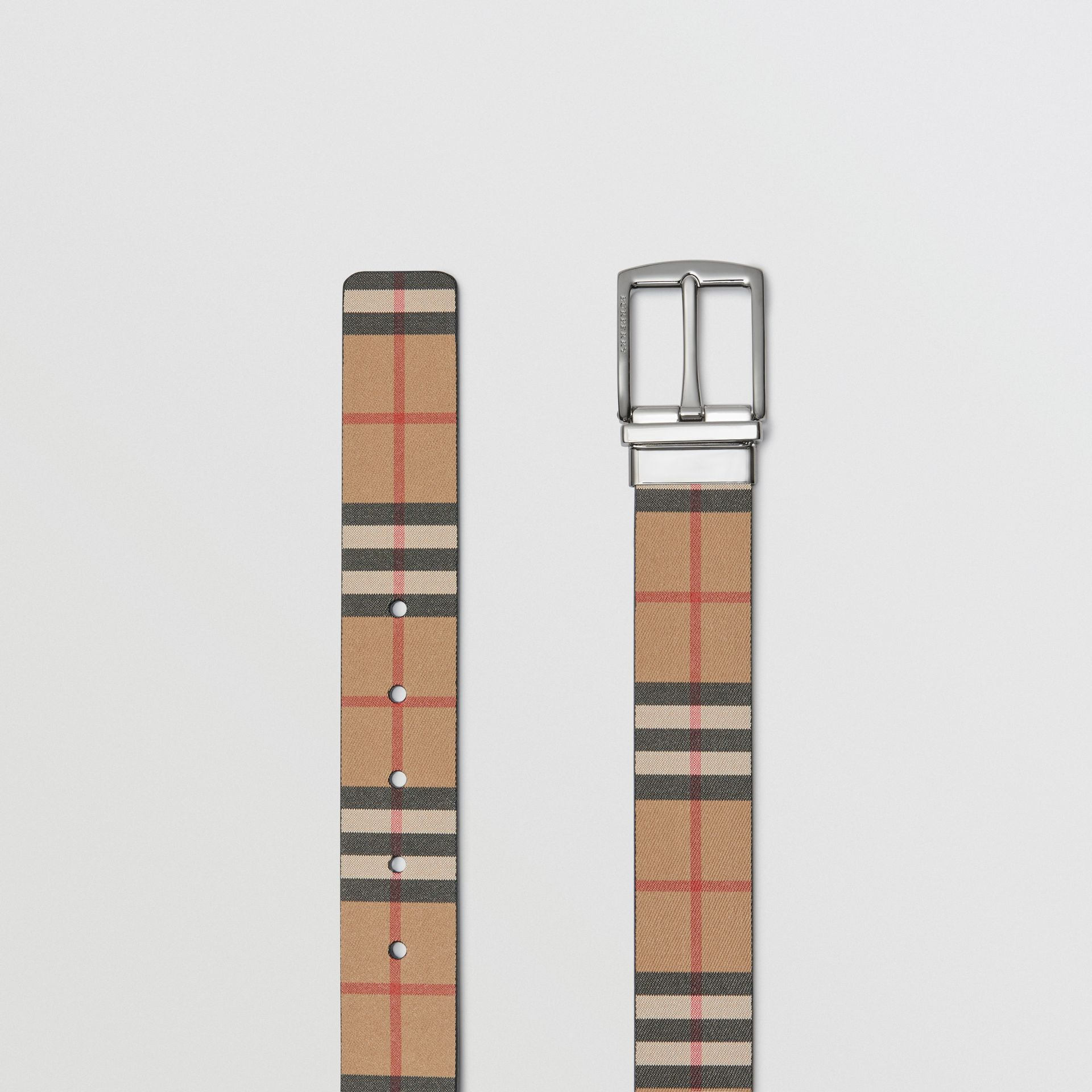 Reversible Vintage Check Leather Belt in Black - Men | Burberry United States - gallery image 6