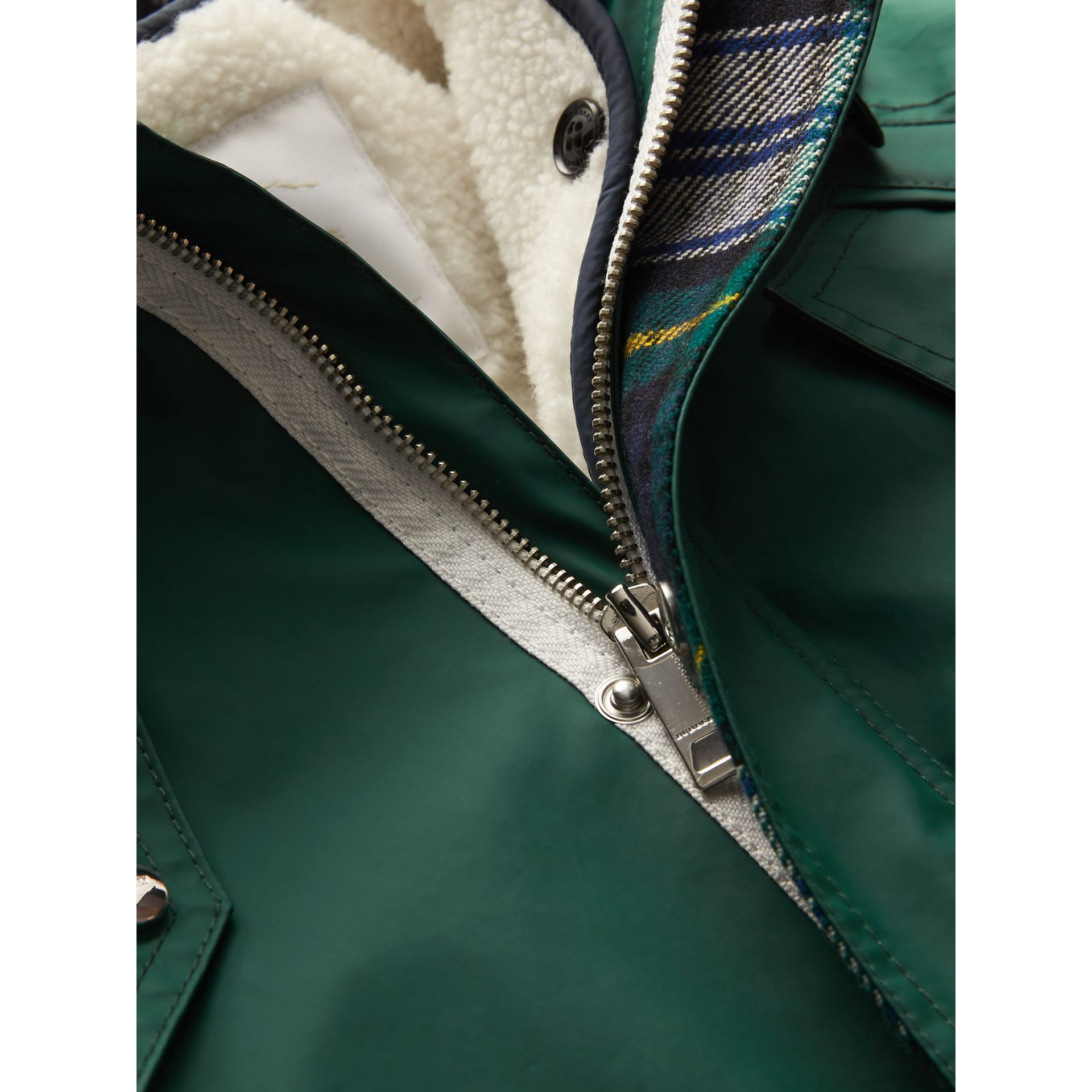 Cotton Blend Hooded Parka with Detachable Warmer in Forest Green | Burberry Australia - gallery image 1