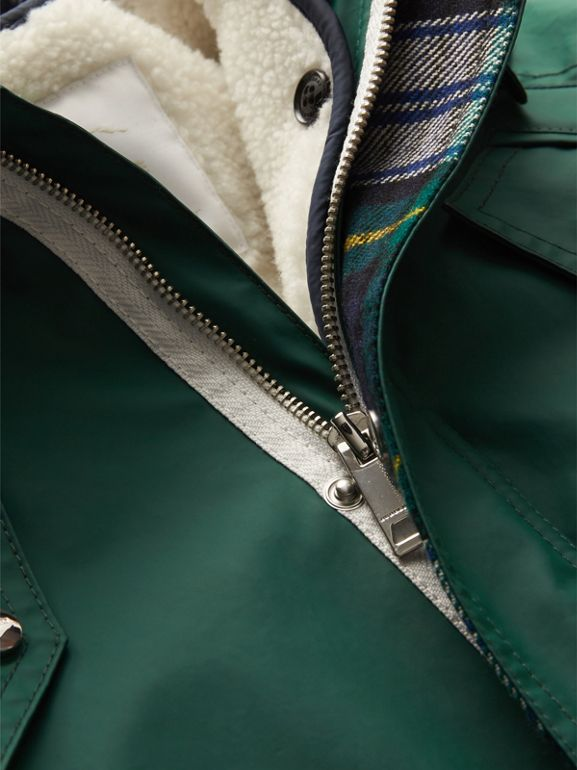 Cotton Blend Hooded Parka with Detachable Warmer in Forest Green | Burberry - cell image 1