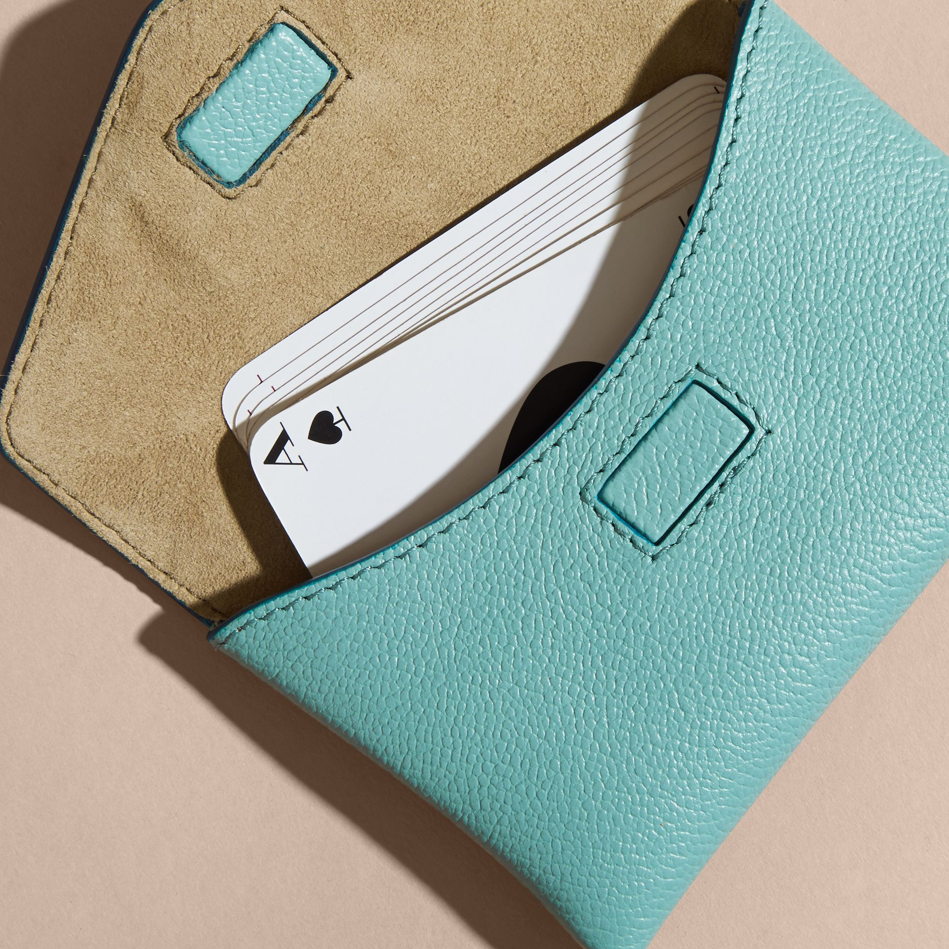 Grainy Leather Playing Card Case in Pale Opal | Burberry - gallery image 3