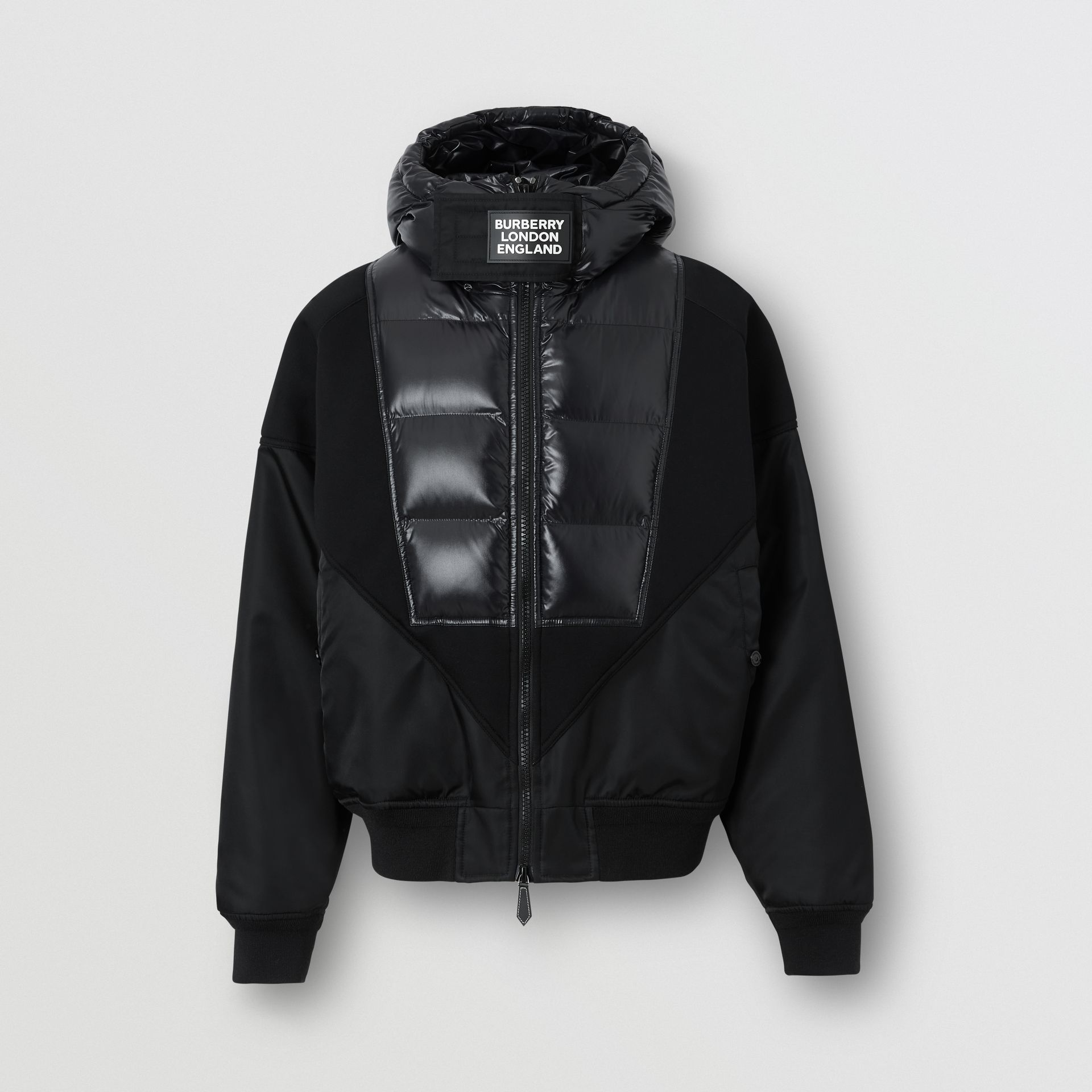 Puffer Detail Nylon and Neoprene Hooded Jacket in Black - Men | Burberry - gallery image 3