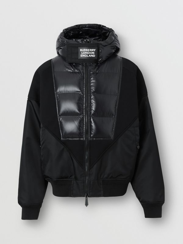 Puffer Detail Nylon and Neoprene Hooded Jacket in Black - Men | Burberry - cell image 3