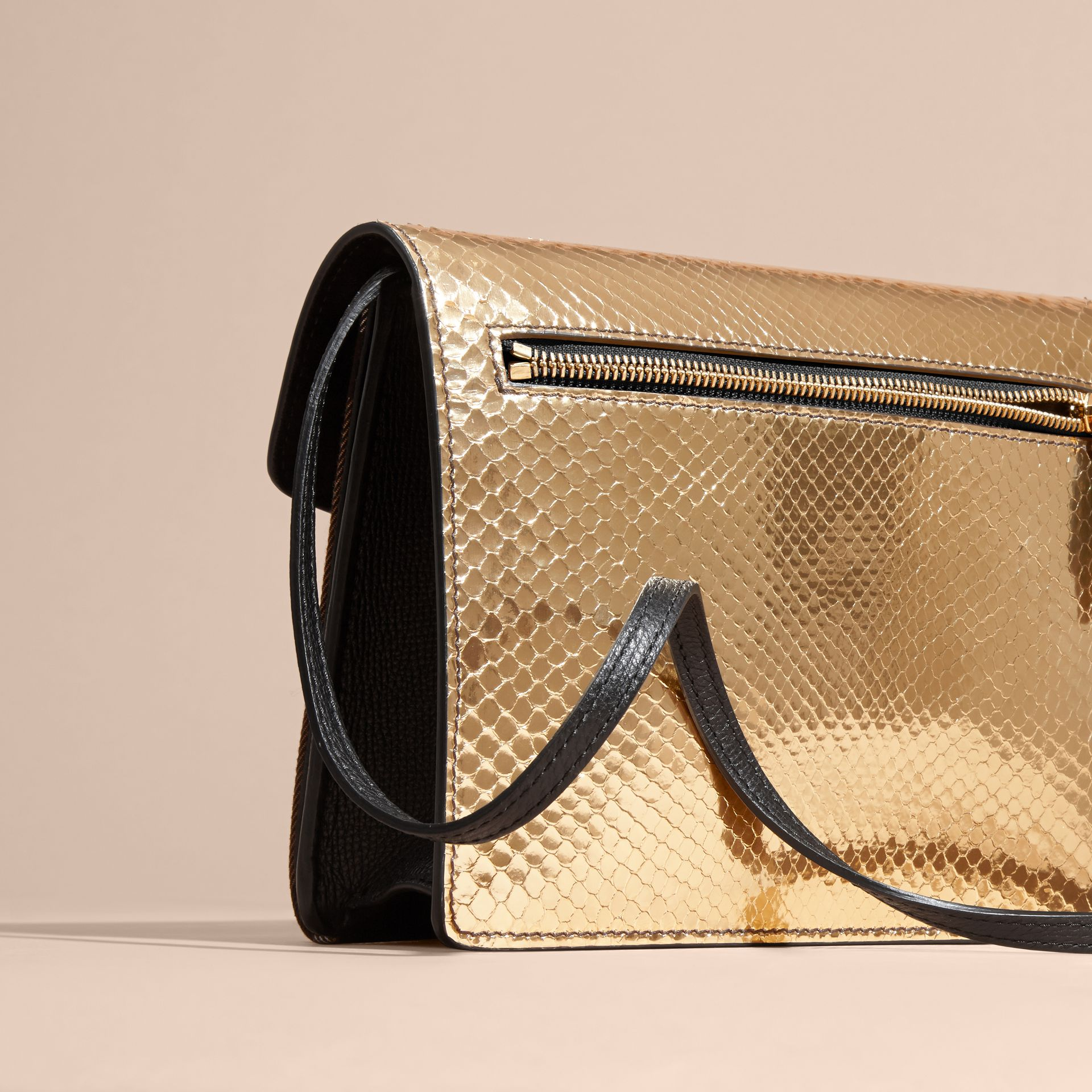 Gold/ black Small Metallic Python and House Check Crossbody Bag - gallery image 6