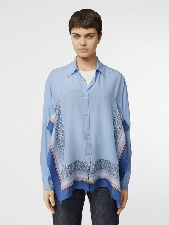 Monogram Print Trim Silk Oversized Shirt in Pale Blue