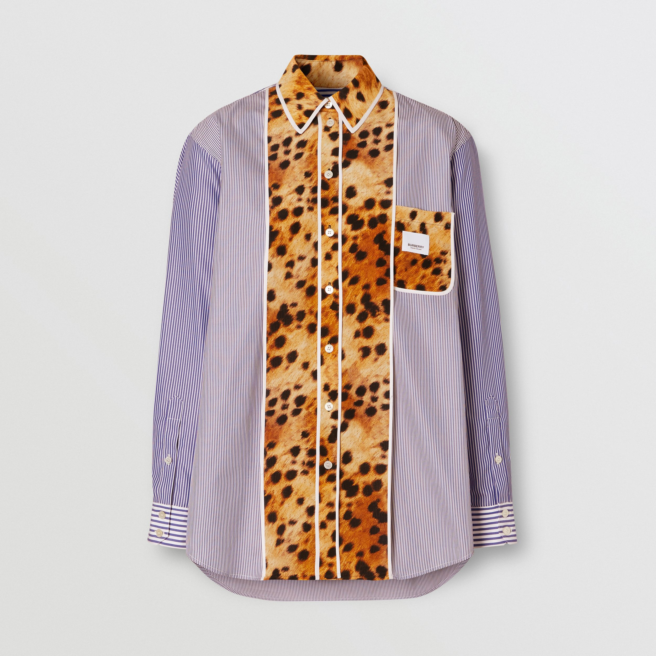 Spotted Monkey Print Panel Cotton Oversized Shirt in Navy - Women | Burberry Hong Kong S.A.R. - 4