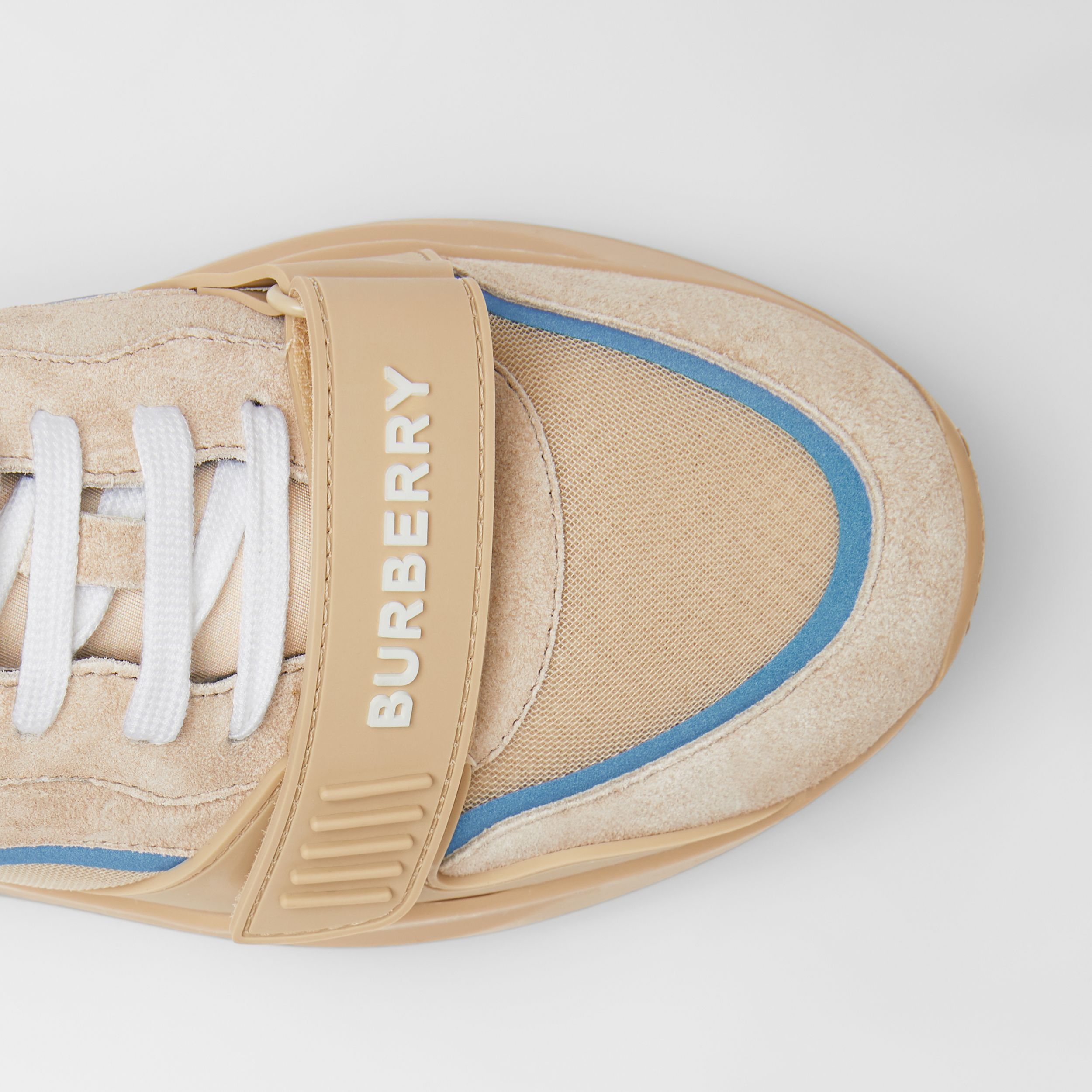 Suede, Leather and Mesh Sneakers in Beige - Men | Burberry - 2