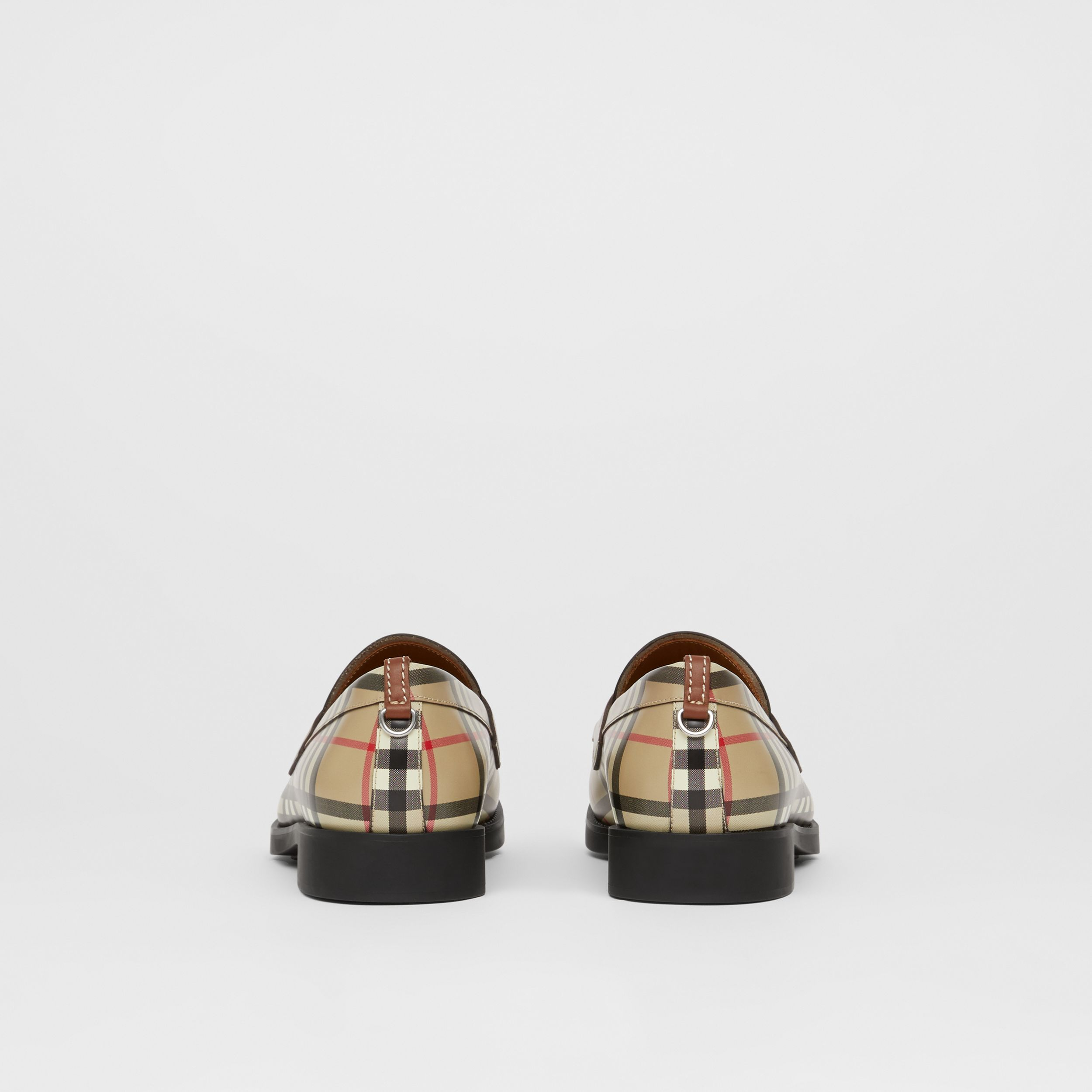 D-ring Detail Vintage Check Leather Loafers in Archive Beige - Men | Burberry - 4
