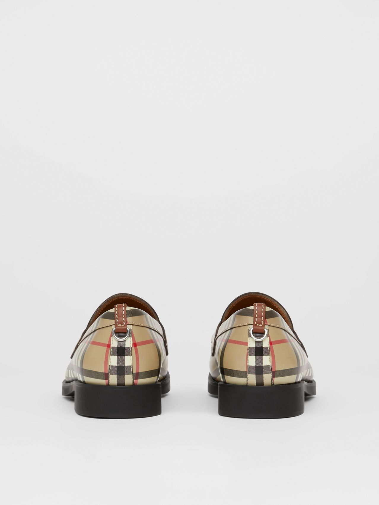 D-ring Detail Vintage Check Leather Loafers in Archive Beige