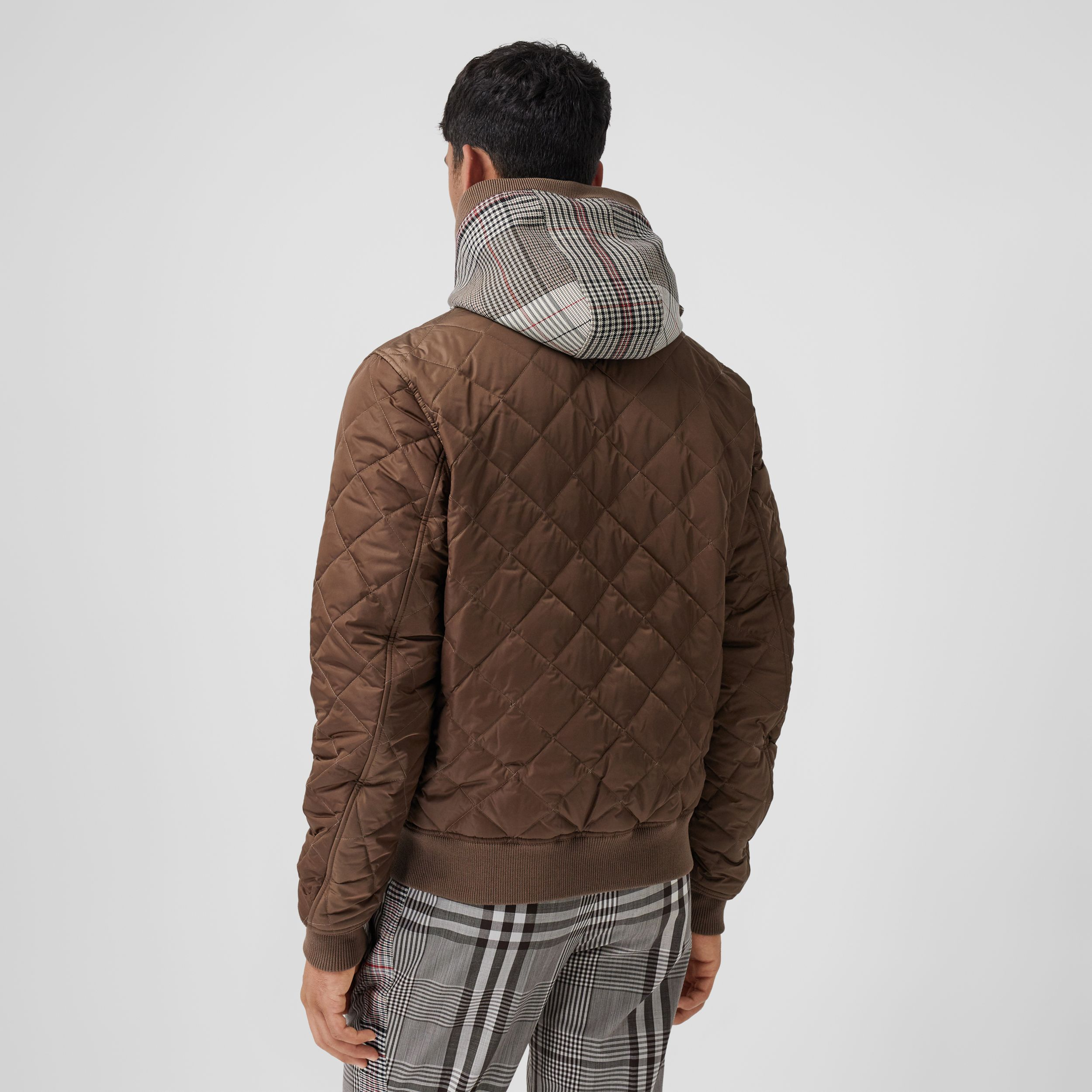 Check Panel Diamond Quilted Hooded Top in Brown | Burberry - 3