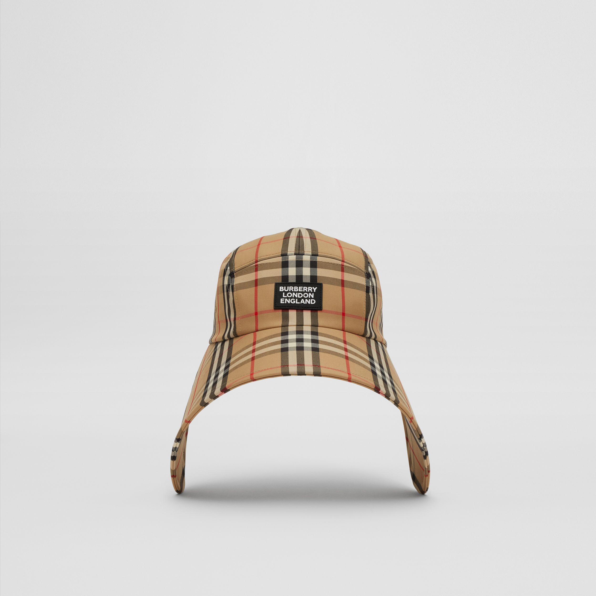 Logo Appliqué Vintage Check Bonnet Cap in Archive Beige | Burberry Singapore - 1
