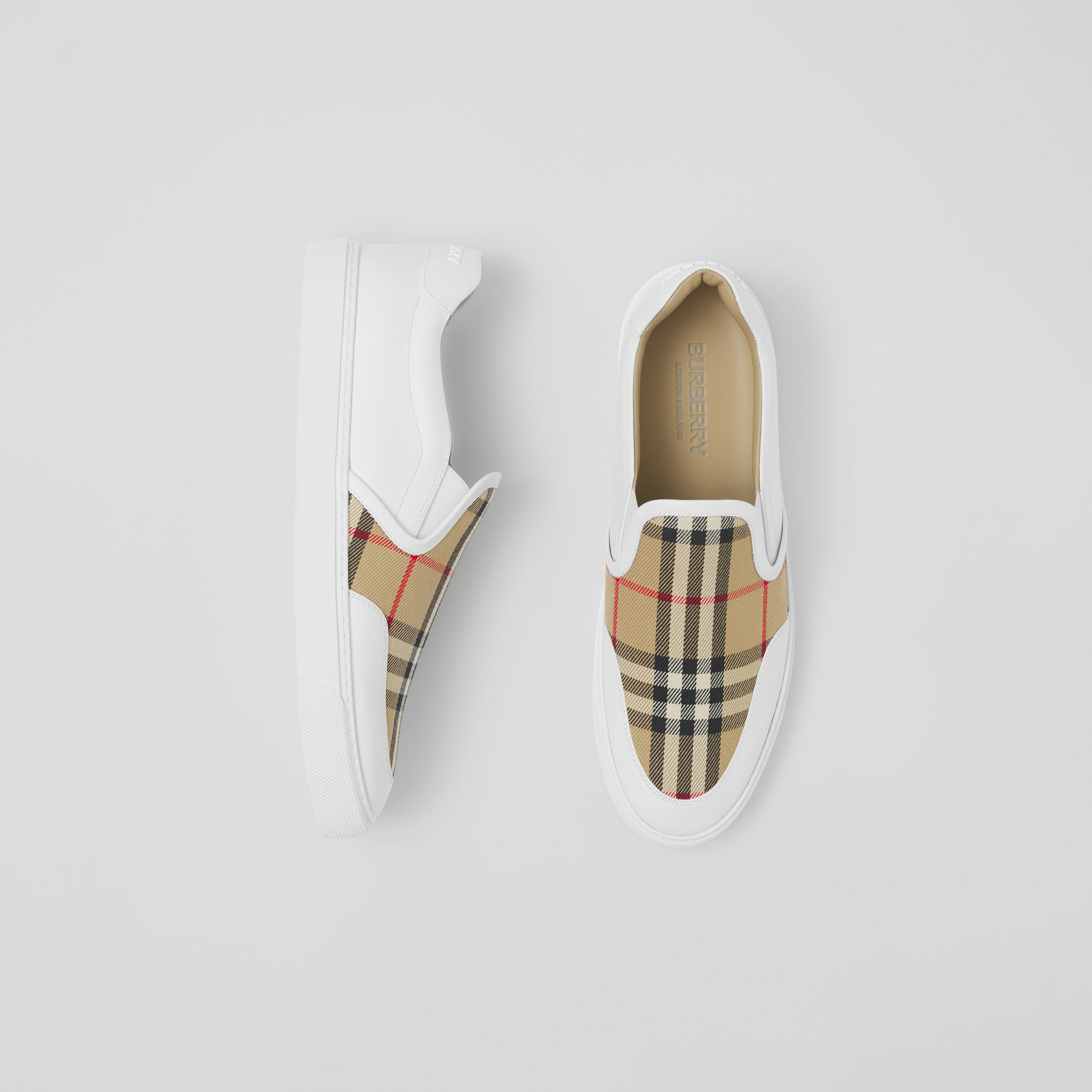 Leather and Vintage Check Slip-on Sneakers in White/archive Beige - Women | Burberry - 1