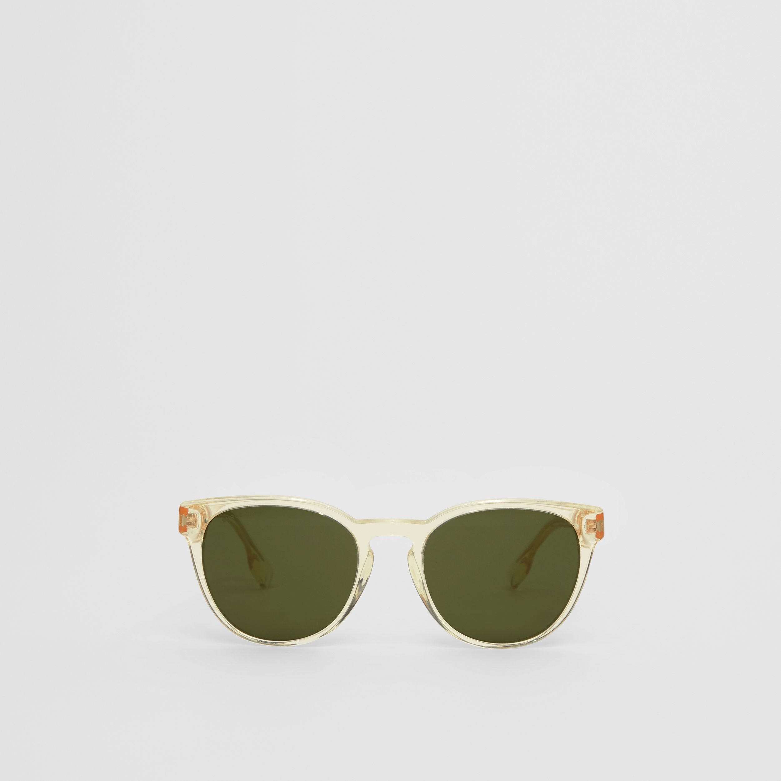 Round Frame Sunglasses in Pale Yellow - Men | Burberry - 1