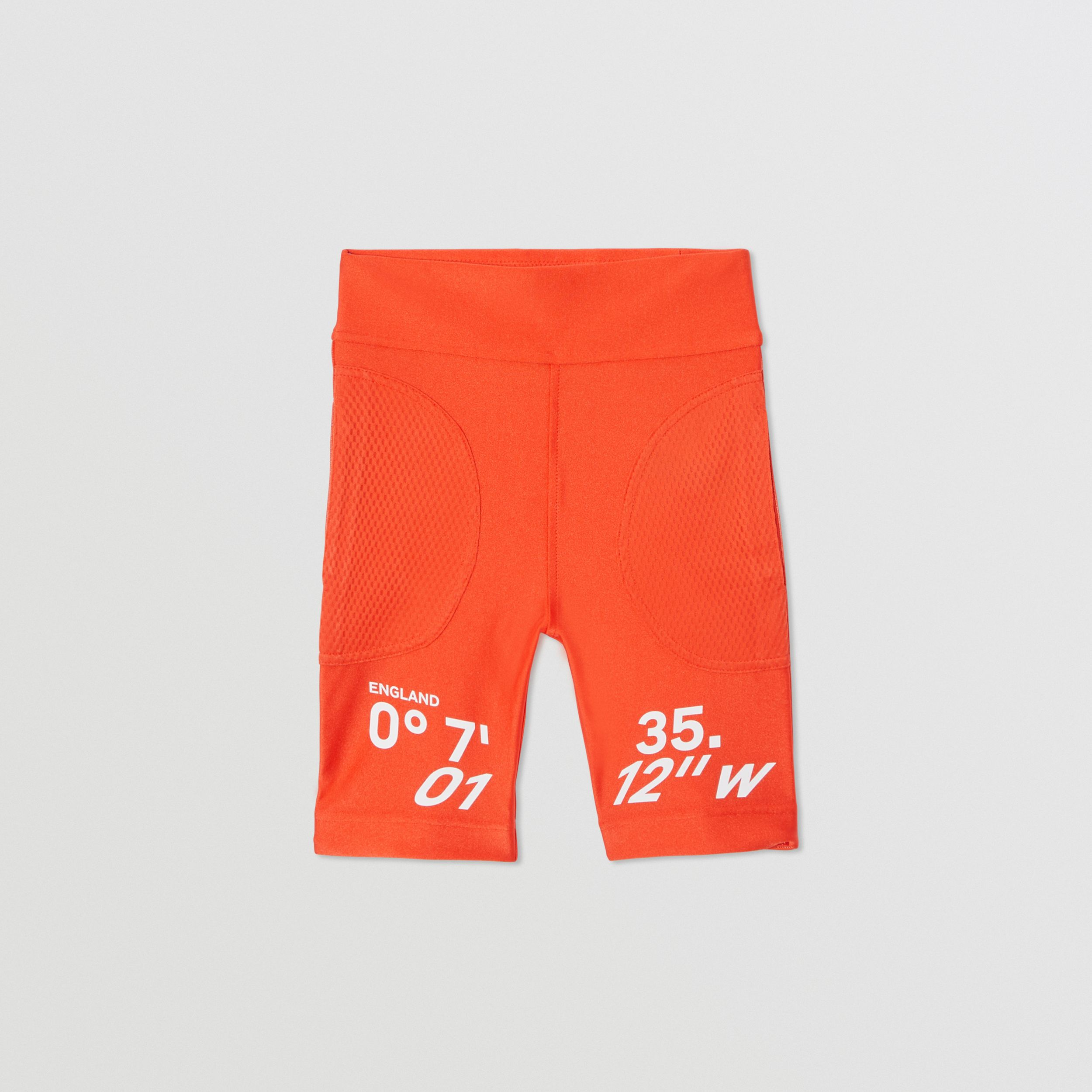 Coordinates Print Stretch Jersey Cycling Shorts in Orange Red | Burberry United States - 1