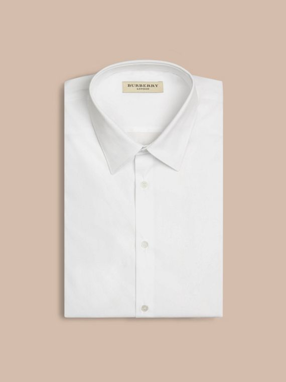 Slim Fit Short-sleeved Stretch Cotton Shirt in White