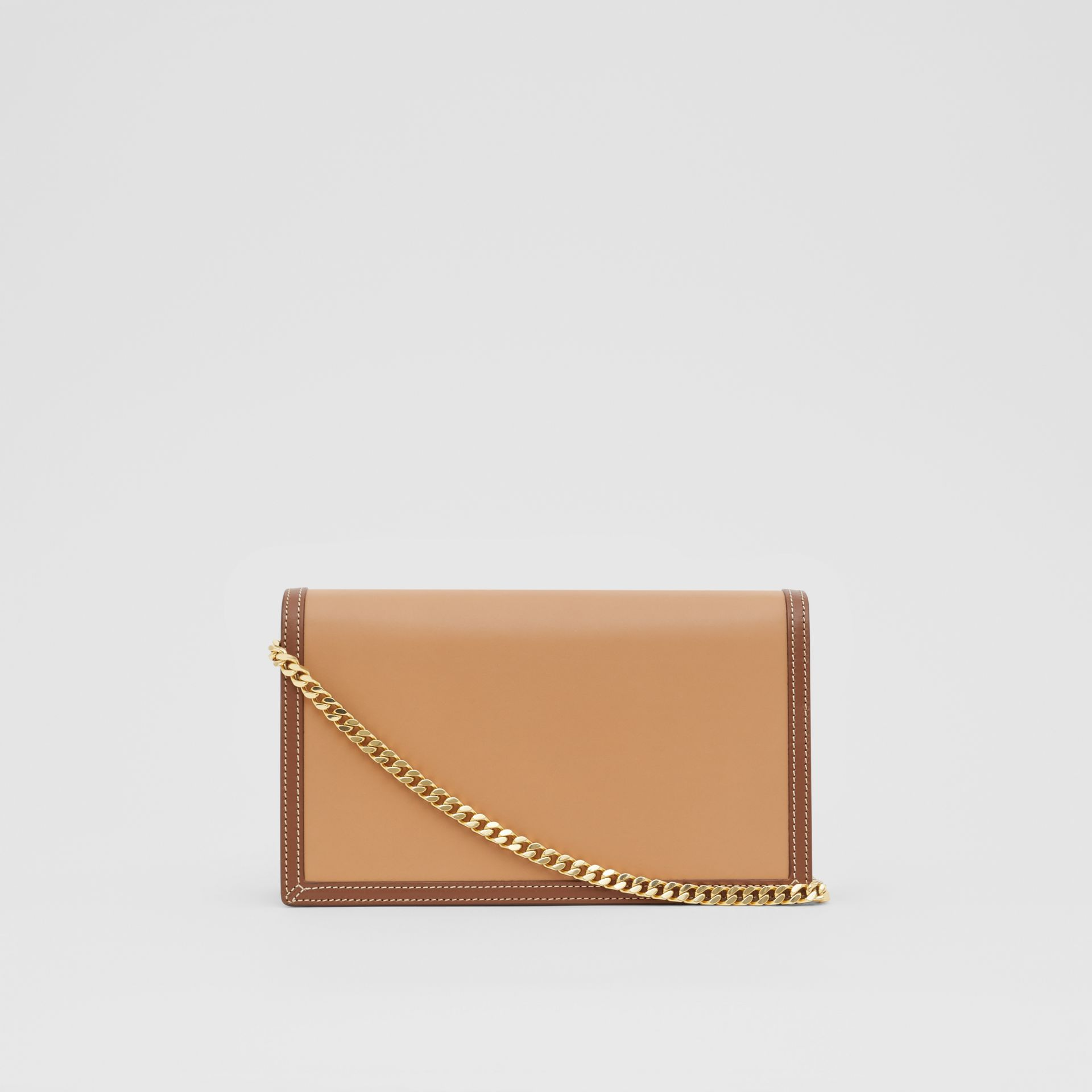 Small Two-tone Leather TB Envelope Clutch in Malt Brown - Women | Burberry - gallery image 6