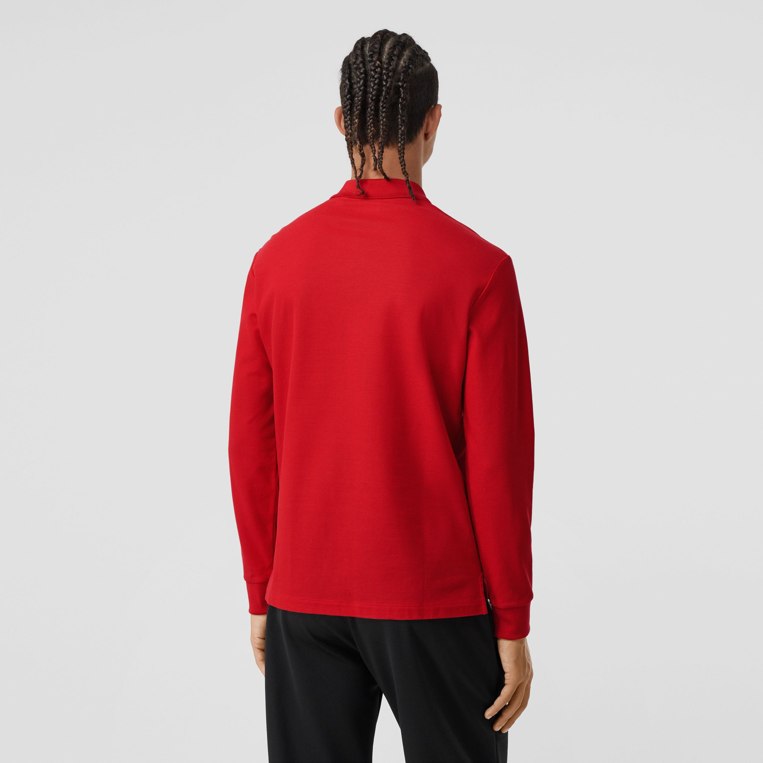 Long-sleeve Monogram Motif Cotton Piqué Polo Shirt in Bright Red - Men | Burberry - 3