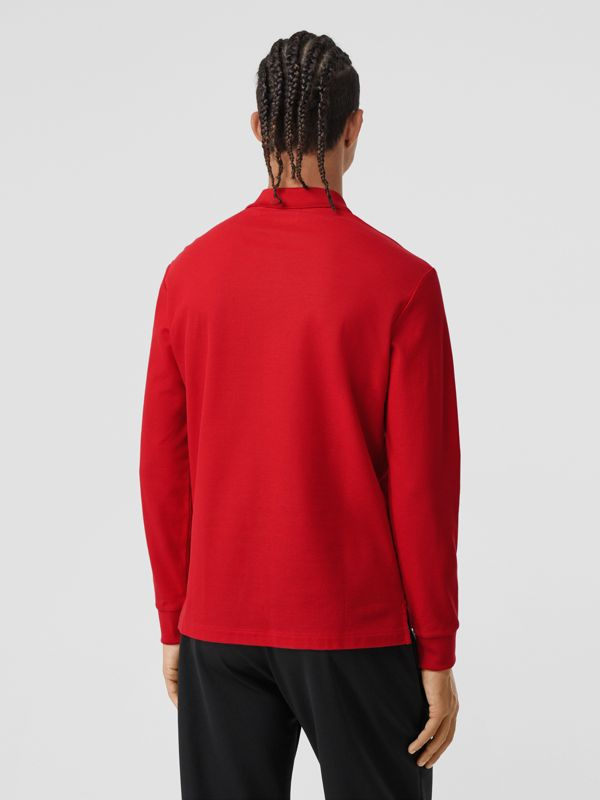 Long-sleeve Monogram Motif Cotton Piqué Polo Shirt in Bright Red - Men | Burberry - cell image 2