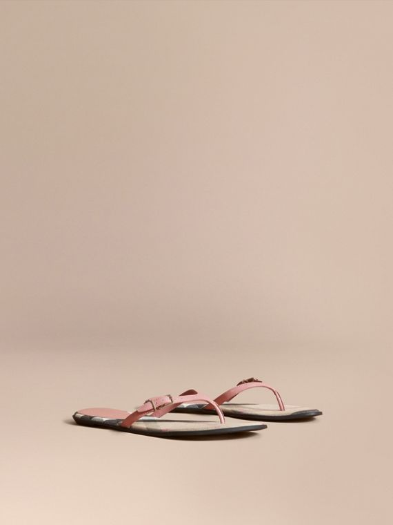 House Check and Patent Leather Sandals in Nude Pink - Women | Burberry Singapore