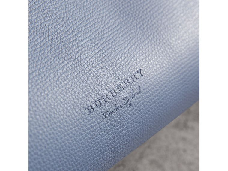 The Small Reversible Tote in Haymarket Check and Leather in Slate Blue - Women | Burberry - cell image 1