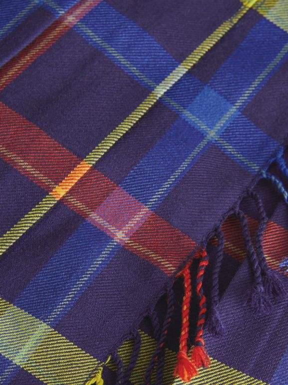 Fringe Detail Tartan Wool Kilt in Bright Navy | Burberry Canada - cell image 1