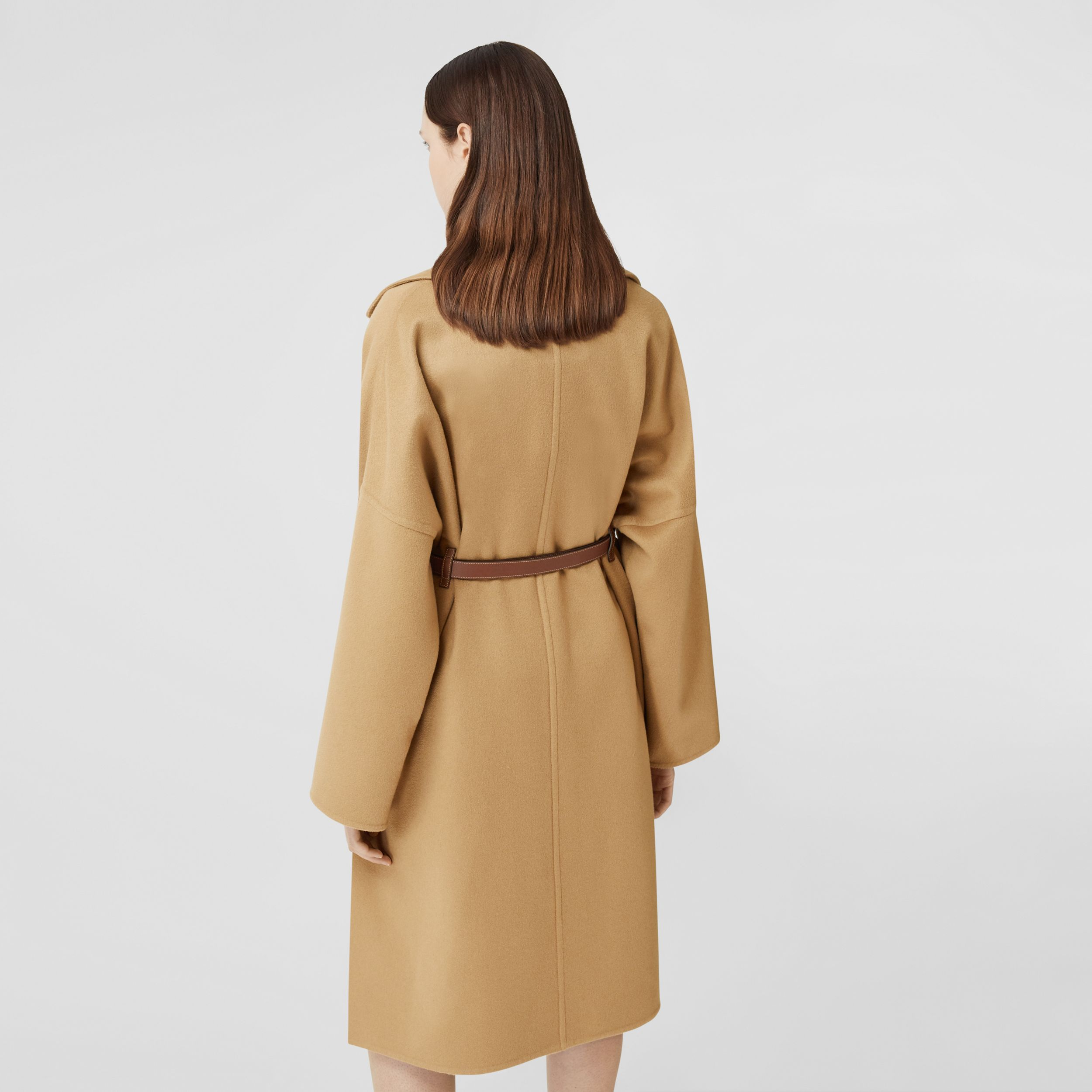Pocket Detail Double-faced Cashmere Wrap Coat in Camel - Women | Burberry - 3