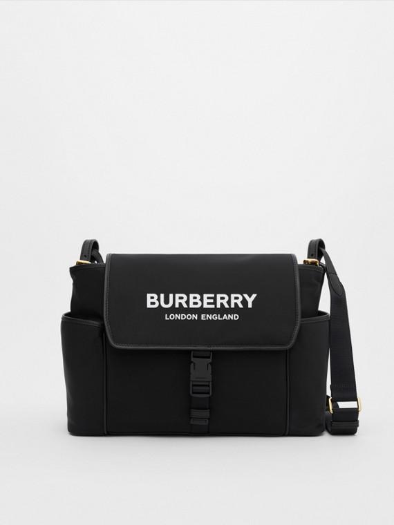 Logo Print ECONYL® Baby Changing Bag in Black