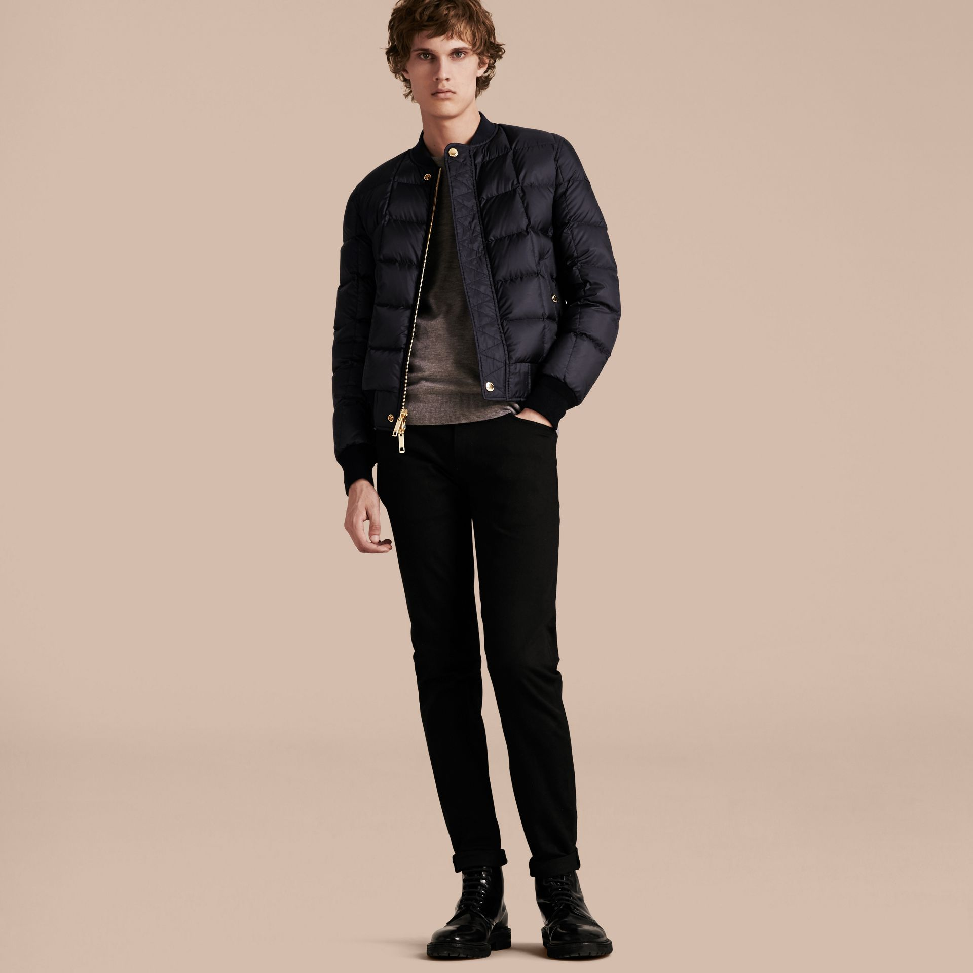 Navy Reversible Down-filled Bomber Jacket - gallery image 6