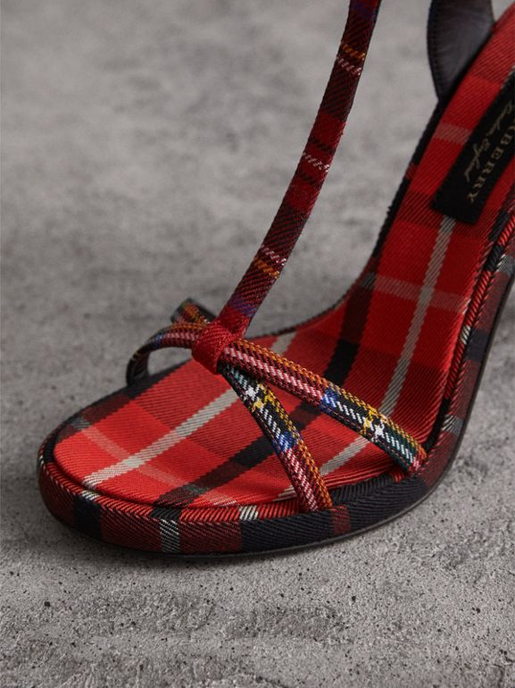Tartan Wool High Cone-heel Sandals in Vibrant Red - Women | Burberry - cell image 1