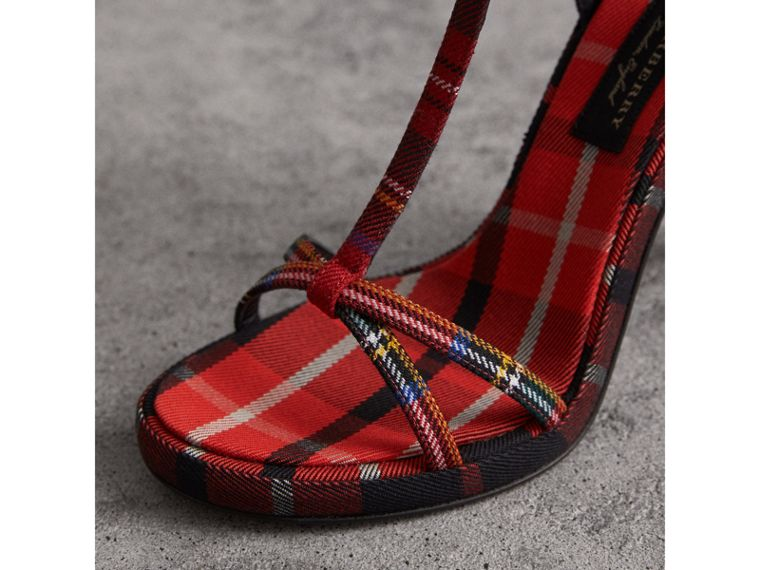 Tartan Wool High Cone-heel Sandals in Vibrant Red - Women | Burberry United States - cell image 1