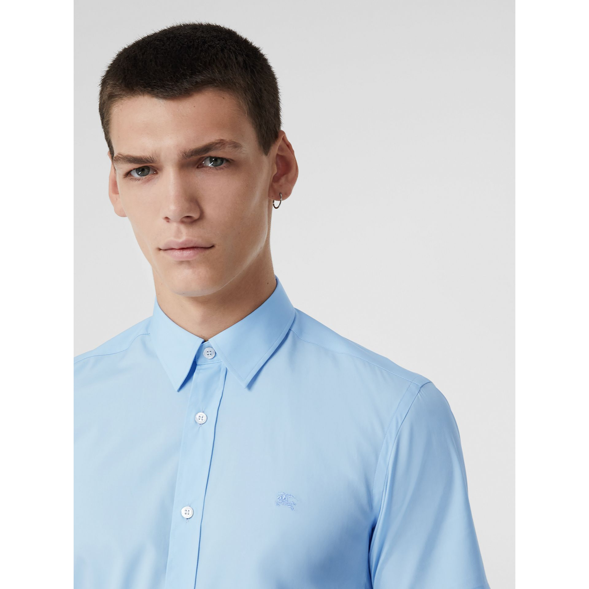 Short-sleeve Stretch Cotton Shirt in Pale Blue - Men | Burberry Hong Kong - gallery image 1