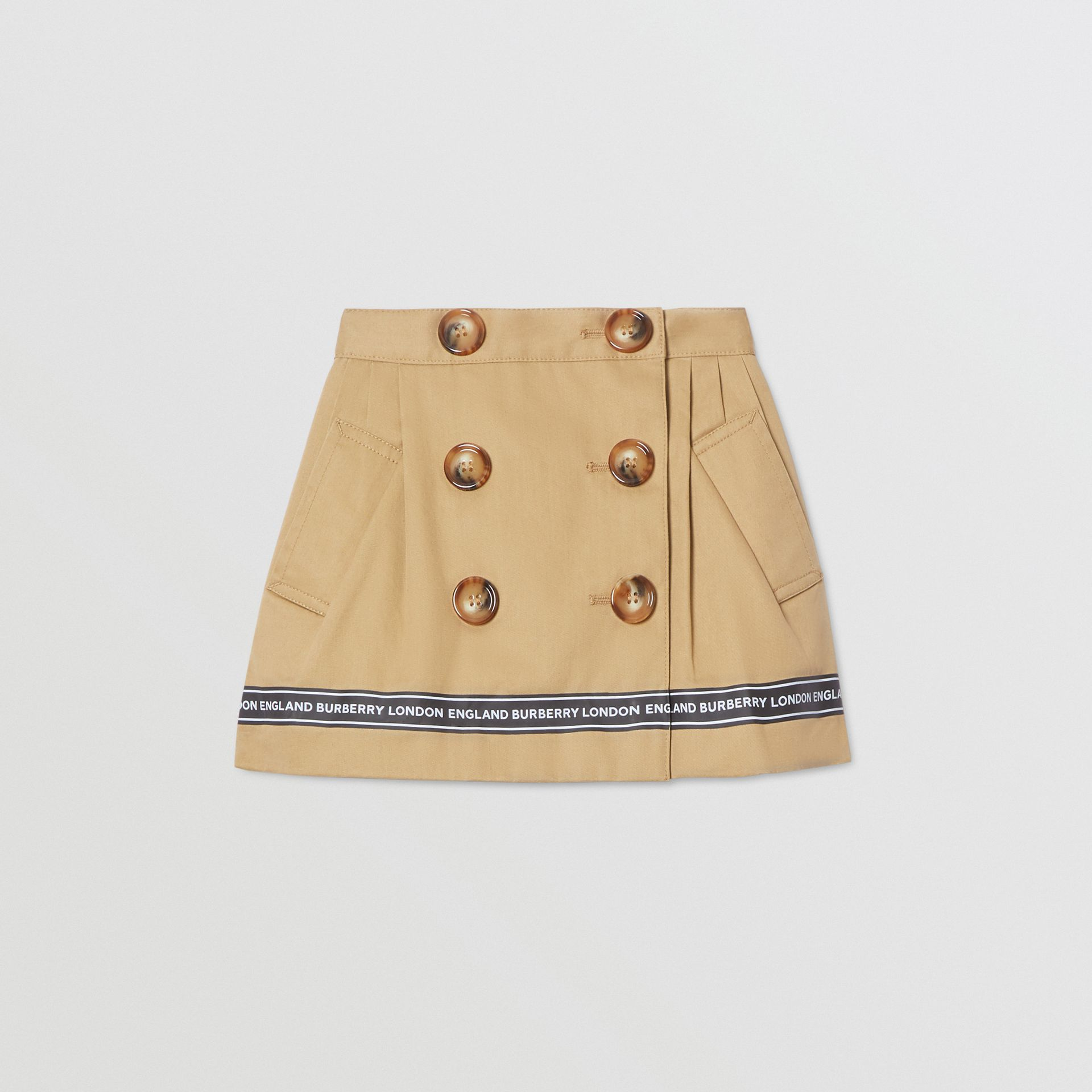 Logo Tape Cotton Twill Skirt in Honey - Children | Burberry United Kingdom - gallery image 0