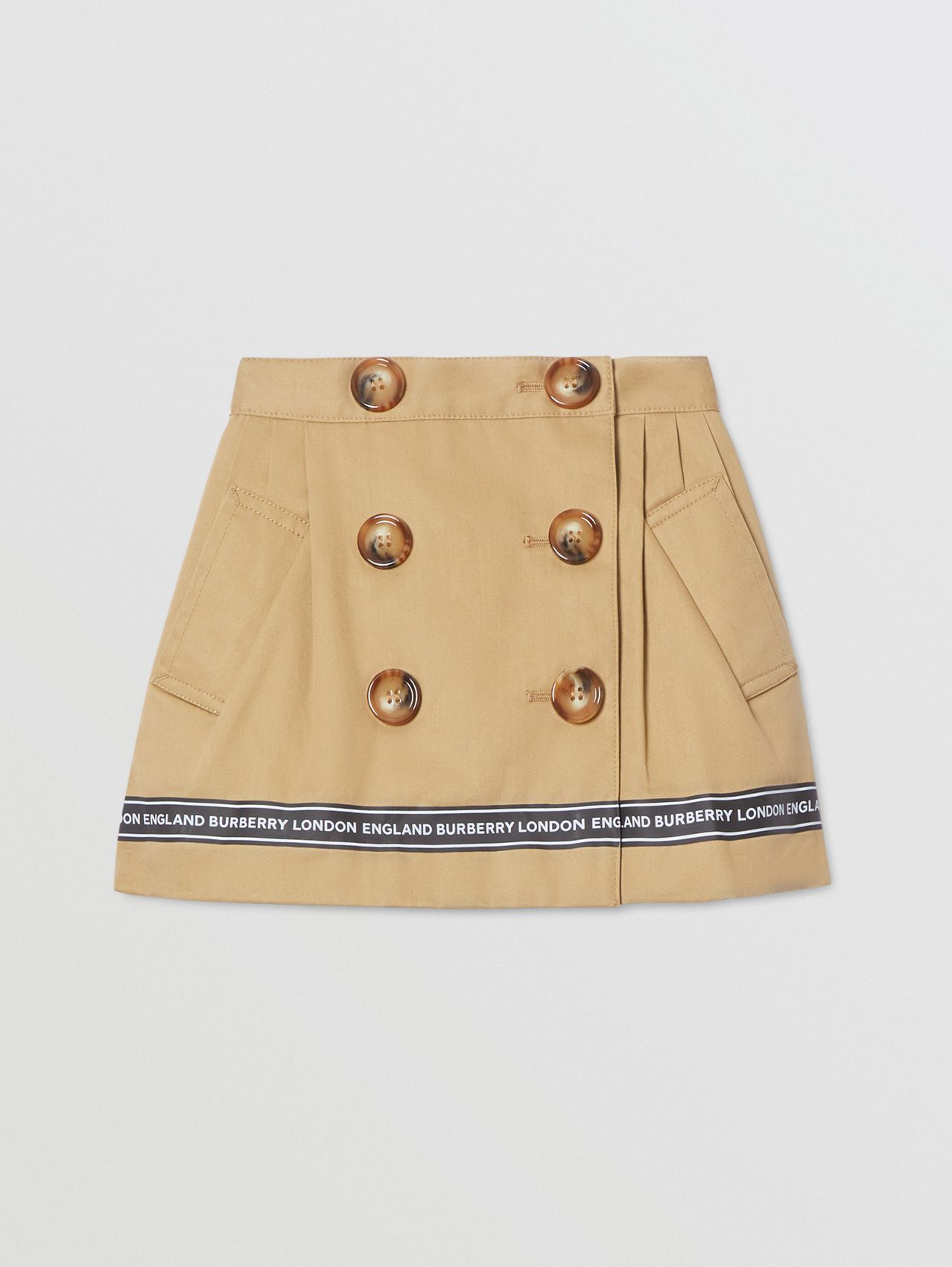 Logo Tape Cotton Twill Skirt in Honey