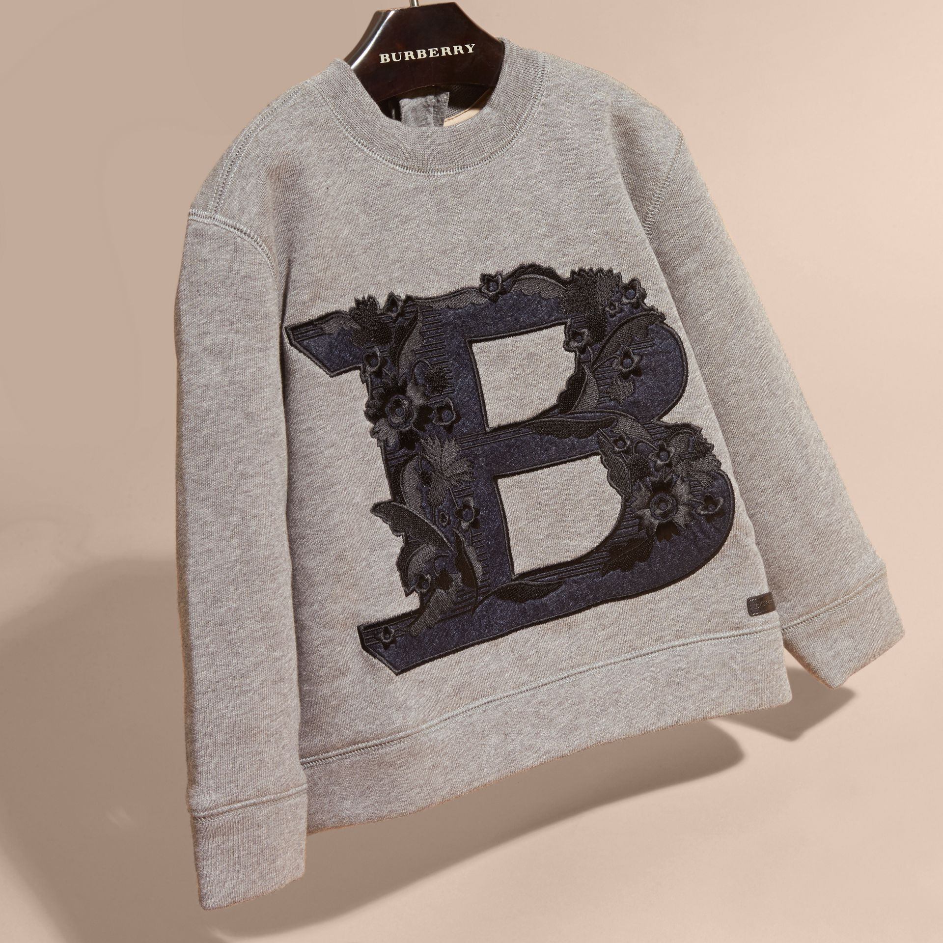 Mid grey melange Embroidered Decorative Letter Motif Cotton Jersey Sweatshirt - gallery image 3