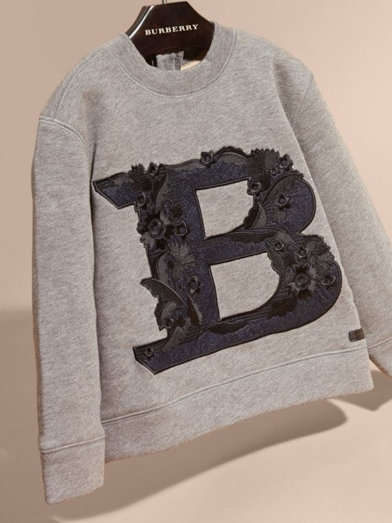 Mid grey melange Embroidered Decorative Letter Motif Cotton Jersey Sweatshirt - cell image 2