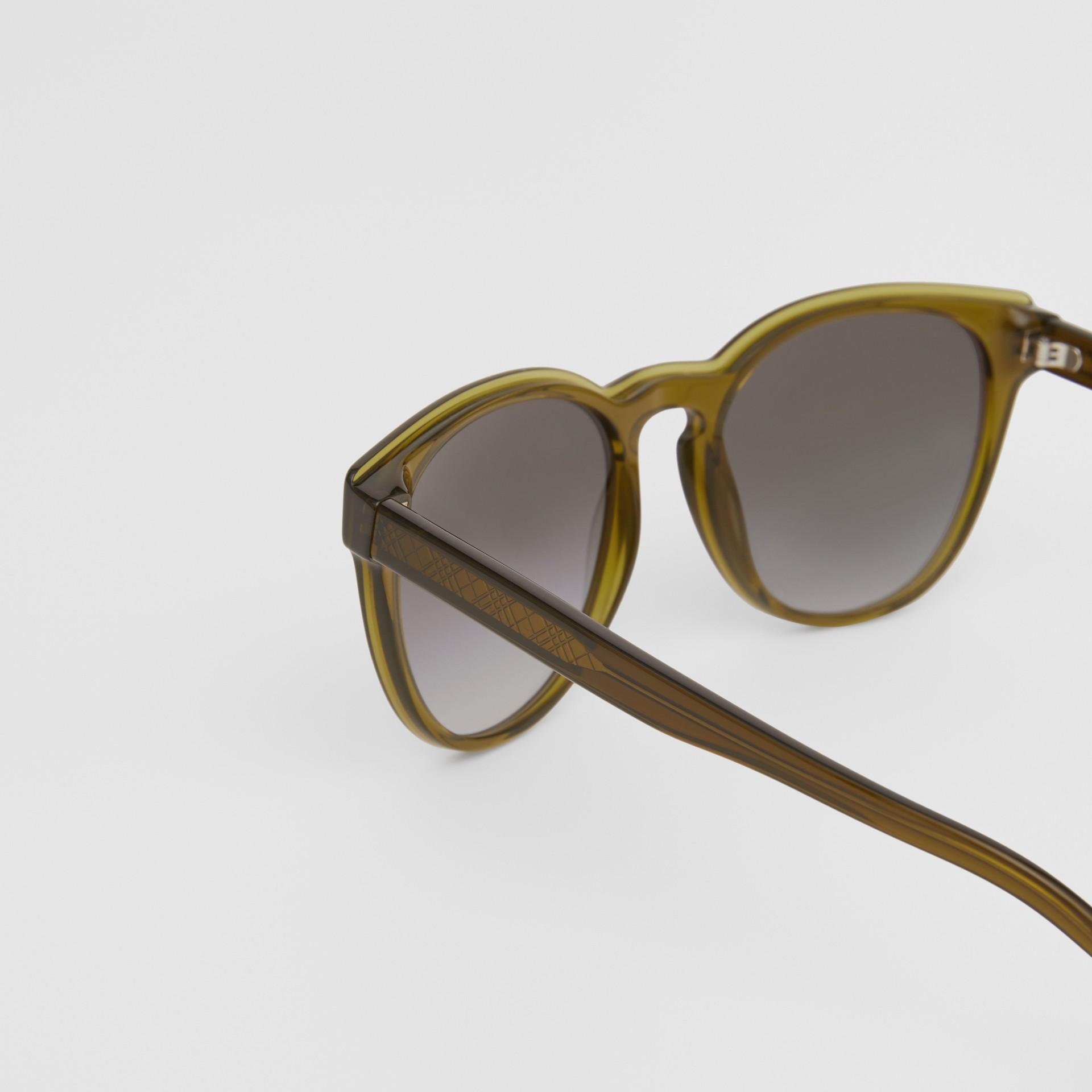 Round Frame Sunglasses in Olive - Men | Burberry Australia - gallery image 1