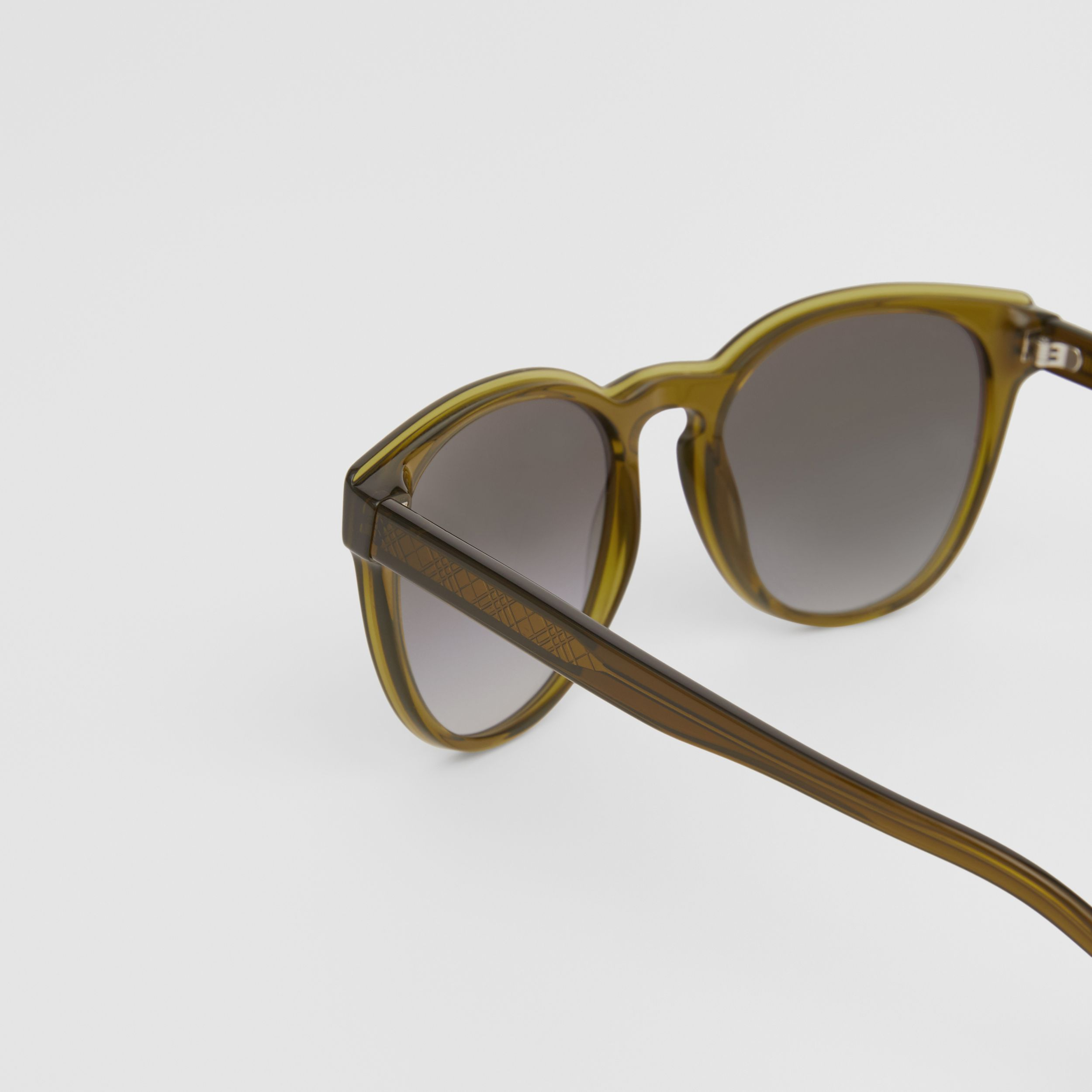 Round Frame Sunglasses in Olive - Men | Burberry - 2