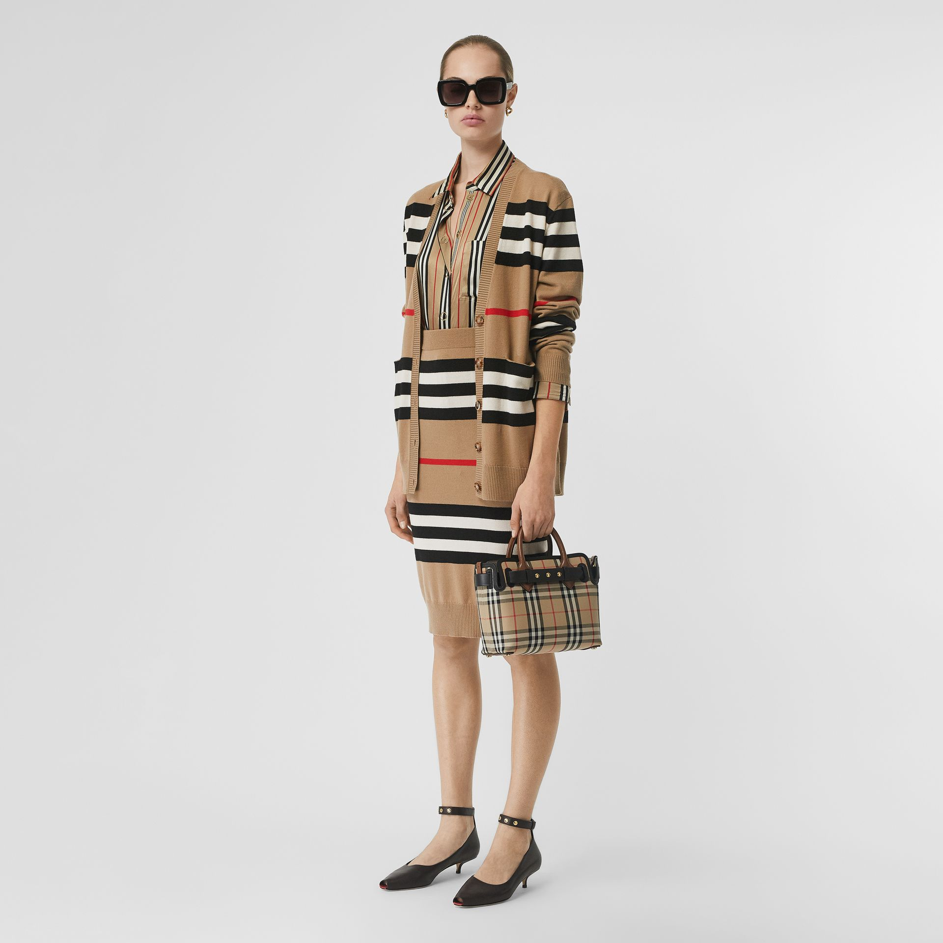 Icon Stripe Merino Wool Cardigan in Archive Beige - Women | Burberry - gallery image 0