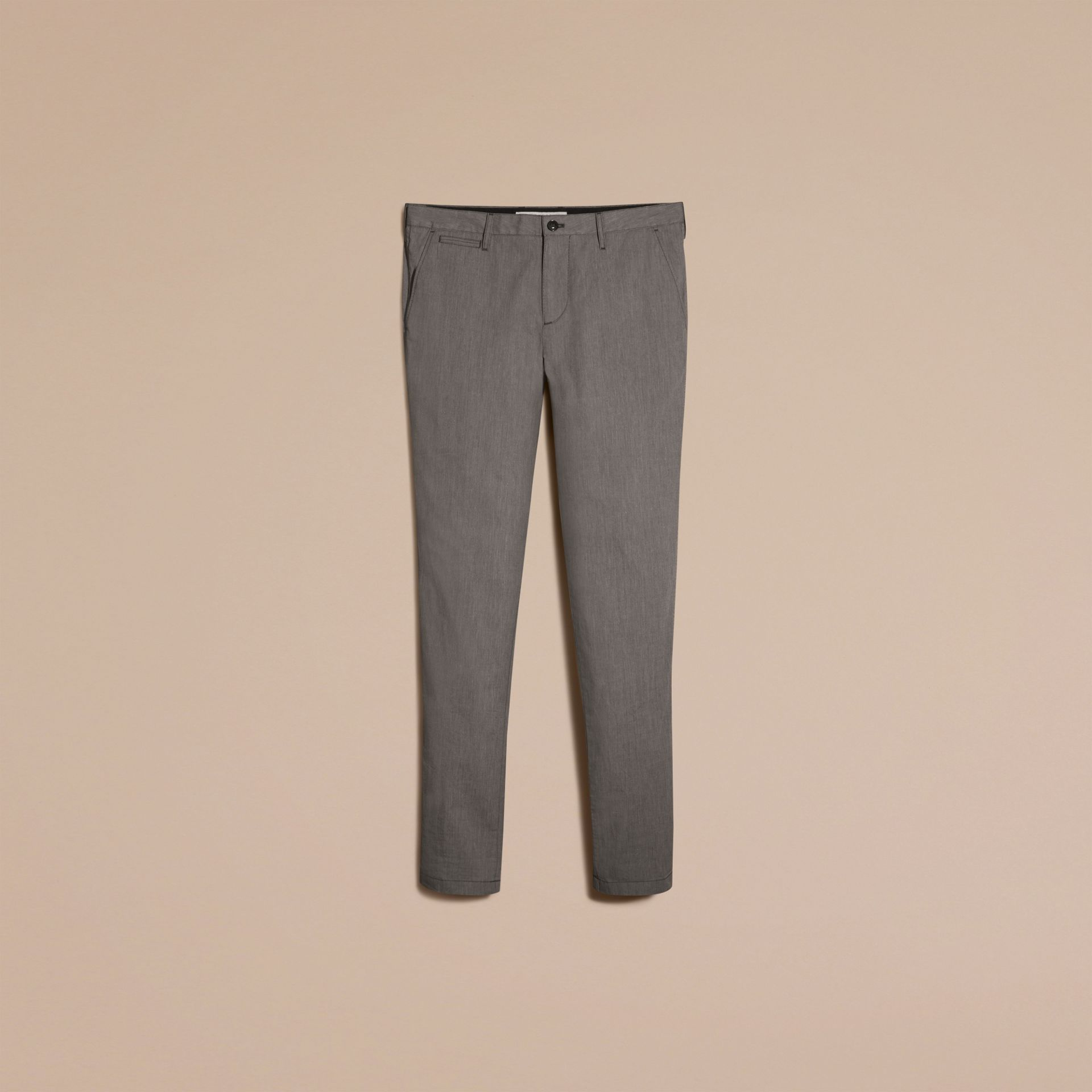 Dark grey Cotton Tapered Trousers - gallery image 4