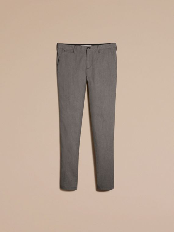 Dark grey Cotton Tapered Trousers - cell image 3