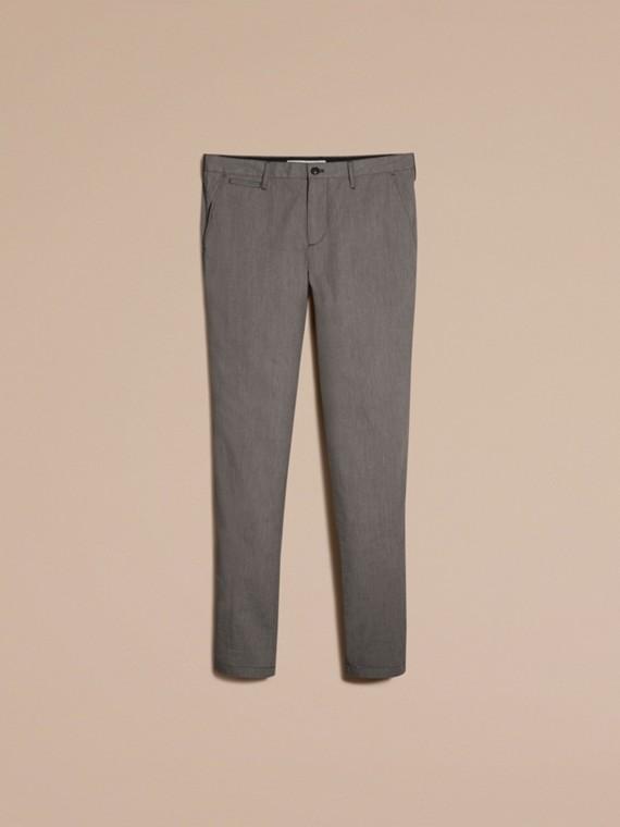 Gris oscuro Pantalones entallados en algodón - cell image 3