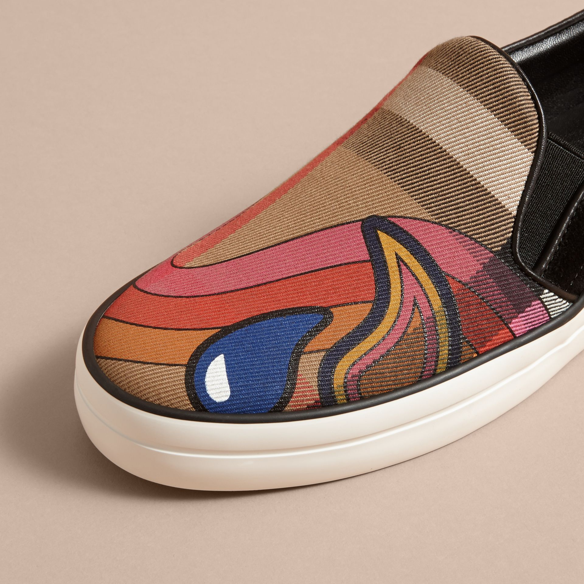 Rainbow Print House Check Cotton and Suede Slip-on Trainers - gallery image 3