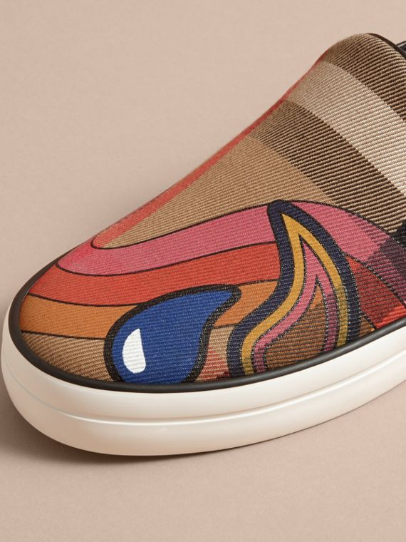 Rainbow Print House Check Cotton and Suede Slip-on Trainers - cell image 2